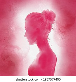 Woman watercolor silhouette in pink