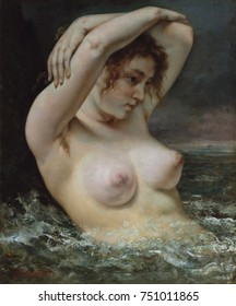 THE WOMAN IN THE WAVES, by Gustave Courbet, 1868, French painting, oil on canvas. Courbets nude in water alludes to the myth of Venus, who was born of the sea. He then counters the fantasy with her ro