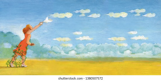 a woman waving a handkerchief to the clouds that fly in the sky illustration of on paper concept of regred and homesickness for the past things