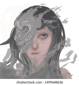 a woman wearing a mask with a curse covering her