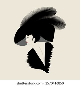 A woman wears a stylish feathered hat in a minimalist fashion and beauty illustration.