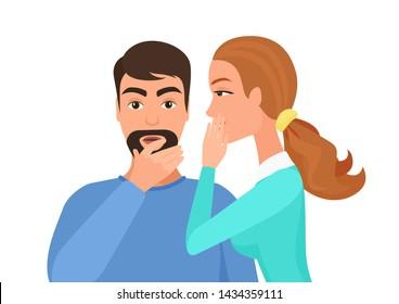 Woman whispering gossip or secret rumors to man. Gossiping secret people illustration.