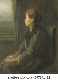 Woman at a Window, by Jozef Israels, c. 1880-1911, Dutch painting, oil on panel. Seated woman looking toward the sea