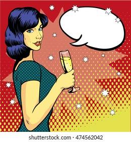 Woman with wine glass in pop art retro style. Comic illustration, girl with speech bubble. Beautiful woman drinking wine from a glass. Party celebration.