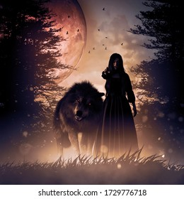 Woman and the Wolf in a dark mysterious foggy forest,3d rendering