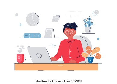 Woman working at computer illustration. Worker in glasses sitting at workplace and typing on laptop flat style concept. Office interior isolated on white