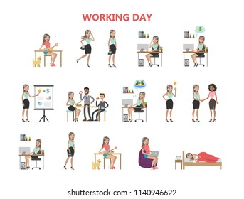Woman working day. Sleeping and eating, working and relaxing.