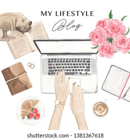 Woman working on laptop, top view. Blogger workplace. Watercolour design elements. Blog banner design. Flat lay illustration.
