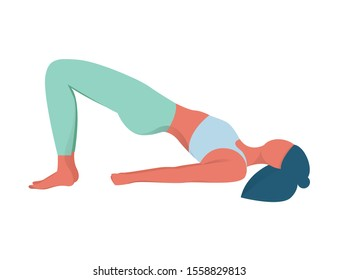 Woman in yoga position. Bridge pose. Exercise for muscular system. Body balance training.  flat illustration