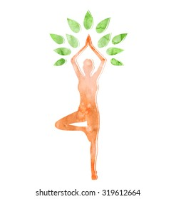 Woman in Yoga Tree Pose Isolated on White Background