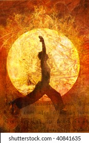 Woman in yoga warrior 1 Sun Salute pose in a circular sun light.