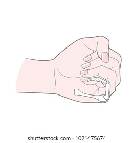 A woman's hand is clenched into a fist. Anatomical image. Metacarpus, phalanx, phalanx of the little finger.  Isolated on white background