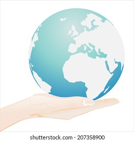 Woman's hand holding object-world map