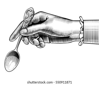 Woman's hand with a spoon. Vintage stylized drawing. Vector illustration