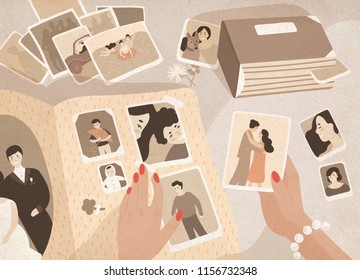 Woman's hands holding old photographs, sorting them out and attaching to pages of photographic album or photo book. Keeping in order pictures with family memories. Colored cartoon illustration.
