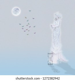 Woman`s marble statue and butterflies. Glowing moon and hourglass. 3D rendering