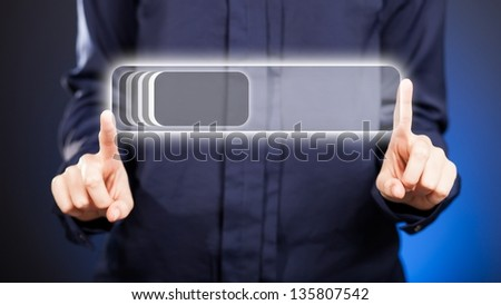 Womans Two Hands Pointing Unlock Button Stock Illustration