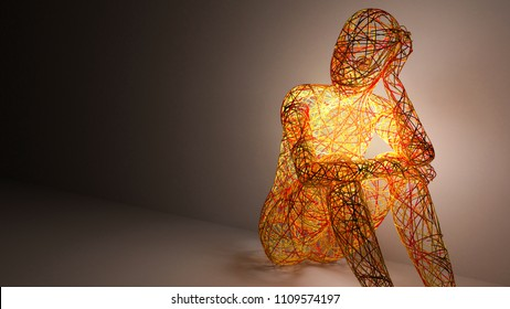 women 3d abstract figure sitting and thinking
