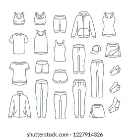 Women casual clothes for fitness training. Basic garments for gym workout. Thin line icons. Outline outfit for active girl. Linear sport style shirts, pants, jackets, tops, shorts, skirt, socks