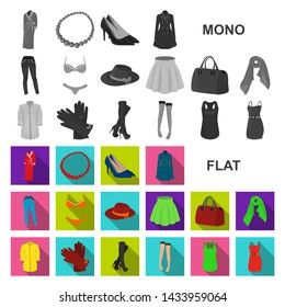 Women Clothing flat icons in set collection for design.Clothing Varieties and Accessories bitmap symbol stock web illustration.