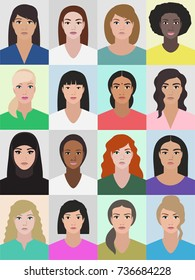 Women or different ethnics and races, portrait collection, profile image, girls faces illustration