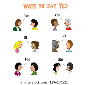Women in different parts of the world say yes to each other in their language