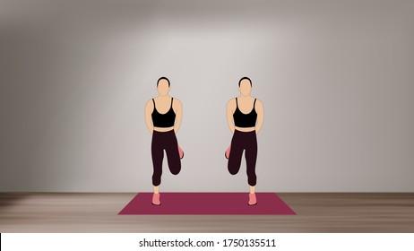 Women doing butt kicks  - a high intense cardio workout at home with no equipment.