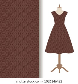 Women dress fabric pattern design on a mannequin with abstract brown pattern. illustration