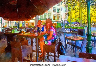 women drink in city cafe, watercolor style