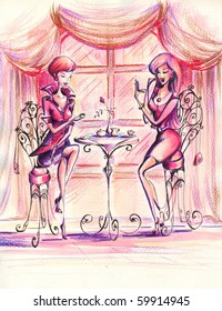 Women drinking coffee in coffeehouse.Picture I have created myself with watercolors and colored pencils.