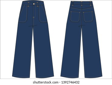 WOMEN FLAIR LEG TROUSERS TECHNICAL DRAWING