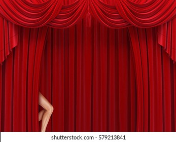Women legs popping out of a Red Curtain in a theater or movie theater. 3D illustration.