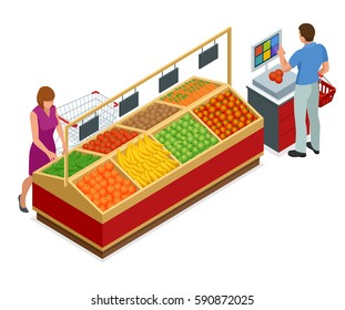 Women and man shopping vegetables and fruits in supermarket. People in supermarket interior design. Best choice. Fresh food. Quality service.
