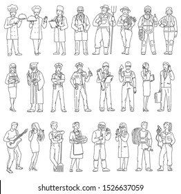 Women and men workers different professions in uniform. Labor Day people black white illustration in line art style. Raster copy