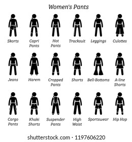 Women pants, trousers, and shorts. Stick figures depict a set of different bottoms, pants, trousers, and shorts. This fashion clothing designs are wear by woman, females, ladies, and girls.