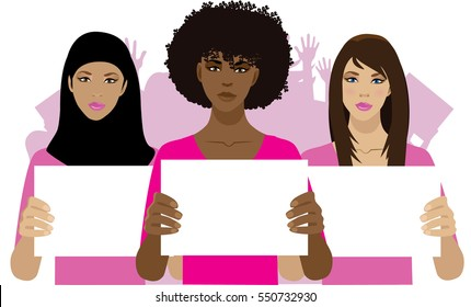 Women protesting with crowd of protesters behind them. Group of multicultural women holding protest signs with copy space. Concept for feminism, equality, fair wages, political protest.