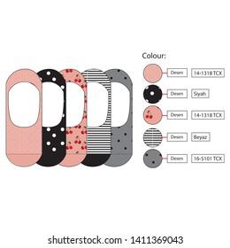 Women socks technical drawning.Socks portfolio.Animal print.Stripe and polka-dot.Summer socks collection.Template design.Portfolio sign.