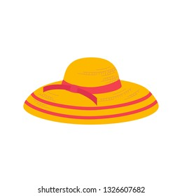 Women Summer hat icon. Girl beach sunhat flat cartoon. Lady hat for vacation. Woman straw cap for travel wear. Sun protection wide brim sunblock. Holiday weekend sign isolated element illustration