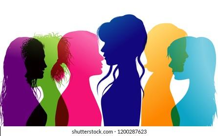 Women talking. Dialogue between women. Conversation between women. Colored silhouette profiles. Multiple exposure