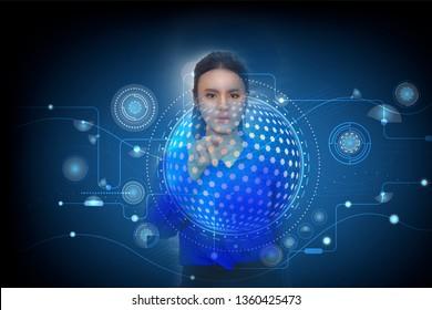 Women touch screen on digital display