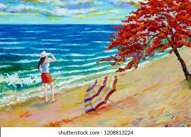 Women tourist on sea beach. Colorful oil color paintings seascape on canvas colorful of beauty beach wave in summery, sea blue and sky, cloud background. Painted Impressionist image illustration.