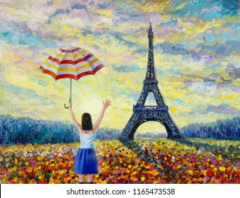 Women travel, Paris European city famous landmark of the world. France Eiffel tower and sun, daisy flower multicolor in garden, with spring season, vintage style. Abstract oil painting illustration