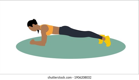 women workout flat illustration. Planking yoga fitness exercise indoor activity, home workout.