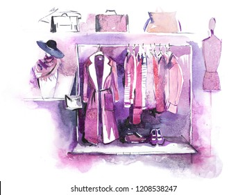 Womens clothing on rack, accessories Fashion outfit. Shopping.