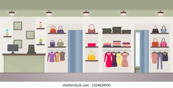 Women's clothing store with wide choose of dresses, handbags or jackets, shirts and pants.  illustration with female shop with no customers