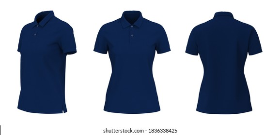 Women's collared shirt mock up isolated on white background, front and back side view, 3d illustration, 3d rendering