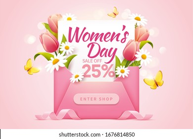 Women's Day sale pop up ads for with 25 percent discount decorated by a cute pink envelope and lovely flowers
