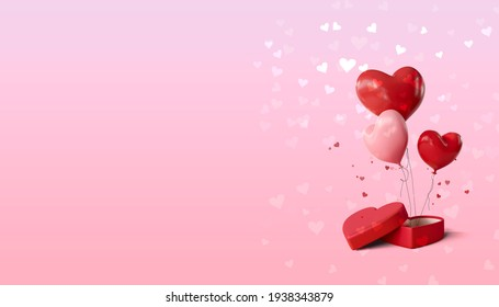 Women's Day, Valentine's, Birthday and wedding background. Heart shaped present box and heart shaped balloons on a pink background.3d illustration.