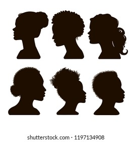Women's elegant silhouettes with different hairstyles. Silhouettes of African American. Beautiful female face in profile.