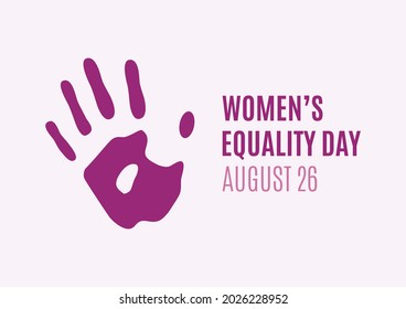 Women's Equality Day Poster with female hand print illustration. Female palm of hand purple silhouette icon. August 26, important day